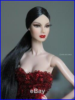Repaint Fashion Royalty Agnes with FR2 body + new reroot hair Black raven